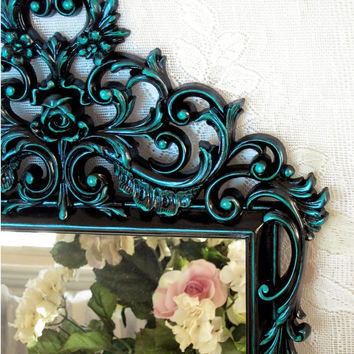 Black and Teal Wall Mirror - Black Lacquer Mirror - Large Wall Mirror - Large Vintage Mirror - Gothic Wall Mirror - Gothic Décor - Burwood