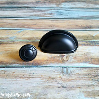 Black Apothecary Drawer Pull Black Bin Cup Pull Black Drawer Pull Modern Dresser Drawer Pull Industrial Dresser Pull Sleek Black Cup Pull