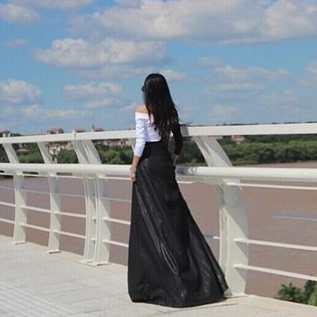 Long Leather High Waist Pleated Skirt