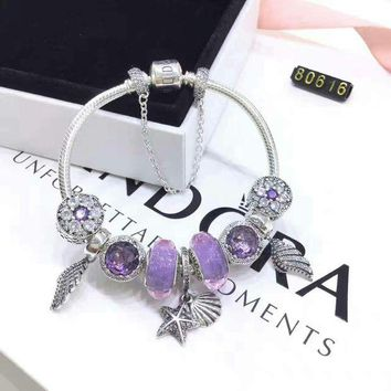 UCANUJ3V Shell Type Purple Beads Pandora 925 Sterling Silver Inspirational Bracelet