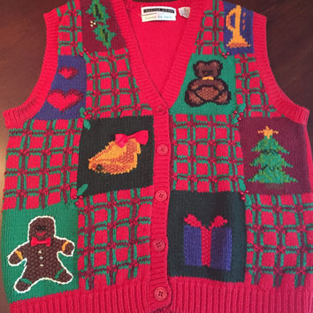 Ugly Christmas Sweater Vest, Woman's Size Medium, Knitted By Hand, Gingerbread Man, Teddy Bear, Presents, Mistletoe, Beads.