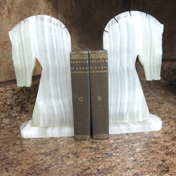Vintage Horse Bookends Alabaster Book Ends
