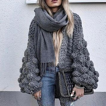 TWOTWINSTYLE Hollow Knitted Sweater Cardigan Women Autumn Long Sleeve Loose Big Size Female Jumpers Open Stitch Casual Clothing