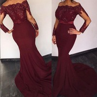 African Mermaid Evening Gowns Burgundy Off Shoulder Sequins Sash Long Sleeves Prom Dress 2016 Dubai Arabic Party Gowns