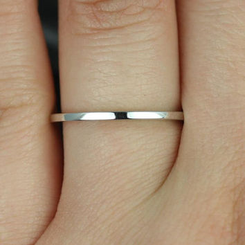 14kt White Gold Matching Band to ALL Barra/Bella/Kitana/Celeste Sizes Plain Wedding Band (Other Metals and Stone Options Available)