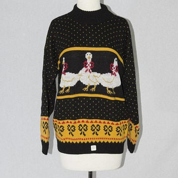 Vintage 1980s Novelty Goose Sweater Fabulous Geese and Bows! L New With Original Store Tags
