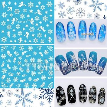 DCK9M2 HOT! 12 Sheets IN 1 Mixed Style Snowflakes Christmas 3D Nail Art Sticker Tips Decals Manicure DIY X'mas Sticker SMY049-060