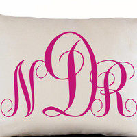 Personalized Decorative Pillow Cover -Three Letter Monogram Pillow -Hot Pink White Linen Accent Pillowcase -Present -Dorm Decor -Gift -12x20