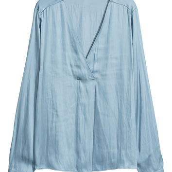 Satin blouse - Light blue - Ladies | H&M GB
