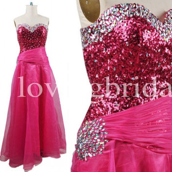 Long Red Sequined Prom Dresses Shinning Crystal Party Dresses Evening Dresses Cocktail Dresses 2014 New Fashion