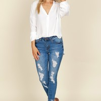 Distressed & Frayed Mid-Rise Ankle Jeans