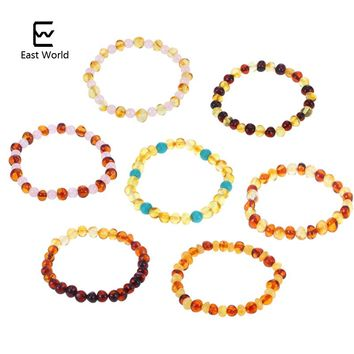 EAST WORLD Amber Bracelet for Baby Adult Elastic Jewelry Gifts Baltic Amber Beads Female Stretch Bracelet Bijoux Natural Beads