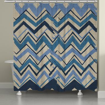 Navy Stripe II Shower Curtain
