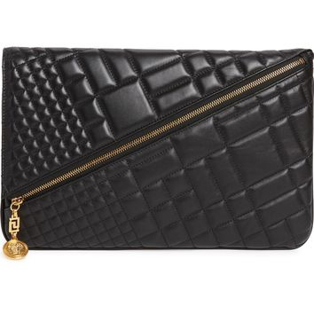 Versace Oversized Quilted Leather Clutch | Nordstrom