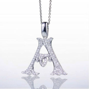 "18 Karat White Gold Diamond Initial ""A"" Pendant Necklace"