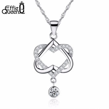 DALI Hot Selling White Gold Plated Double Heart Necklace with Micro AAA CZ Crystal Pave Women Jewelry PN19