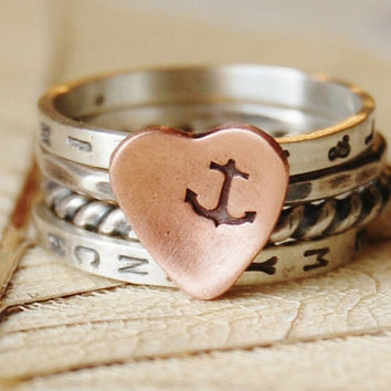 You Are My Anchor   Stacking Ring Set of 4  Hand by lovestrucksoul