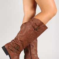 Gusseted Curved Collar Round Toe Knee High Boot