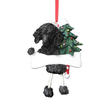 "Poodle Ornament Black with Unique ""Dangling Legs"" Hand Painted and Easily Personalized Christmas Ornament"
