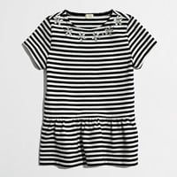 Factory girls' stripe peplum necklace tee - Shirts & Tops -Girls - J.Crew Factory
