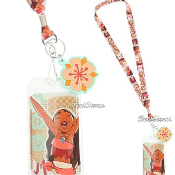 Licensed cool Disney Moana Movie Print Lanyard Neckstrap With Rubber Flower Charm Loungefly