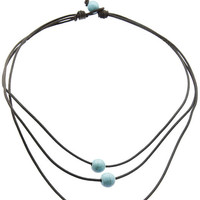 NECKLACE / NATURAL STONE FINISH / THREE LAYER CORD / KNOT AND LOOP CLOSURE / 16 INCH LONG / 1 INCH DROP / NICKEL AND LEAD COMPLIANT