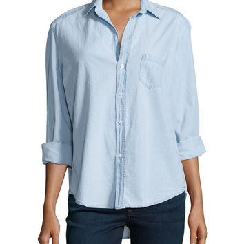 Long-Sleeve Eileen Cotton Shirt, Indigo