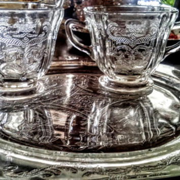 Federal Depression Glass Crystal Madrid Pattern Vintage Cream and Sugar Dish Set