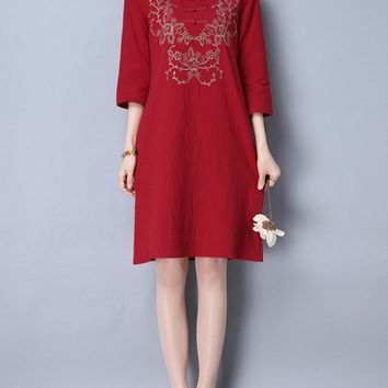 Casual Split Neck Embroidery Cotton/Linen Shift Dress