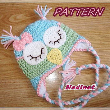 Rainbow Owl crochet hat PATTERN, girl crochet pattern, pdf pattern