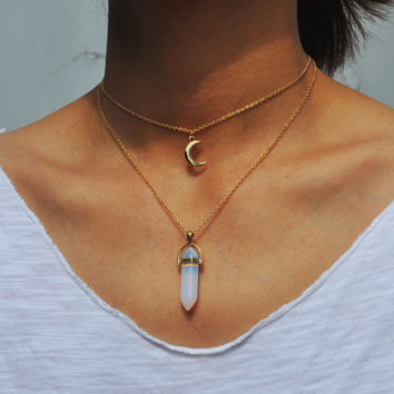 Moon Choker + Crystal Pendant Layering Necklace