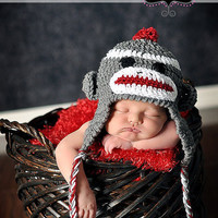 Crochet Sock monkey Hat for babies and children: Available with red or pink trim and multiple sizes. Made to order