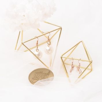 Vintage Metal Geometric Earrings Display Stand