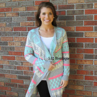 Long Aztec Print Cardigan