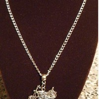 Vintage Motorcycle Charm and Necklace Set
