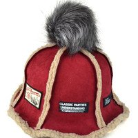 Red Faux Shearling Patches Detail Bucket Hat