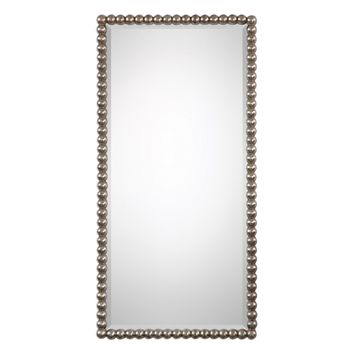 Serna Rectangular Antiqued Silver Beaded Mirror by Uttermost