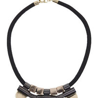 Mesh Section Cord Necklace - Mixed Metal