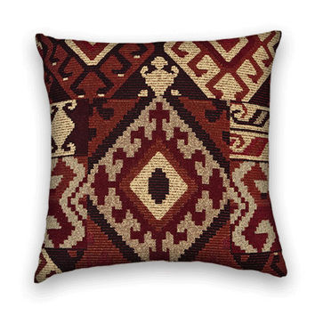 Kilim Decorative Pillow Cover--20 x 20  Throw Pillow--Rust/Burgundy, Black, Sand