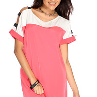Coral White Two Tone Short Sleeve Casual Dress
