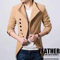 Multi-Buttons Designer Men's Fashion Wool Coat SOS