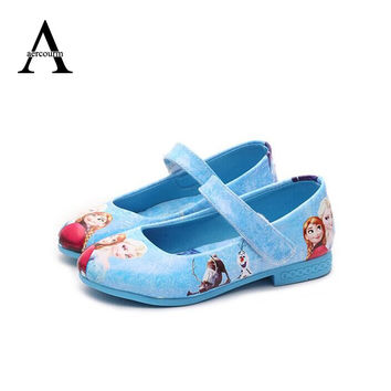 Kids Children Girl Elsa Anna Girls Princess Shoes Fashion Blue Shoes Flat Evening party Leather Shoes Anna Queen Casual Sneakers