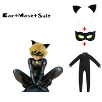 Black Cat Noir Cosplay Costume Miraculous Ladybug Jumpsuit / wig For PURIM child Adrien Marinette Superhero Cosplay girls/boys