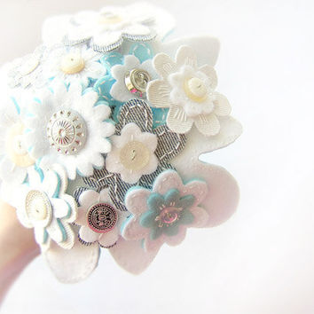 Bridal wedding bouquet, alternative bouquet, white, cream and blue flowers, felt and vintage buttons, bridal accessory