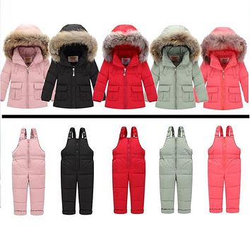 Russian Winter Snowsuits 2017 Baby Boy Winter Children Girls Duck Down Coats Overalls Clothing Set Jacket, Children's Clothing