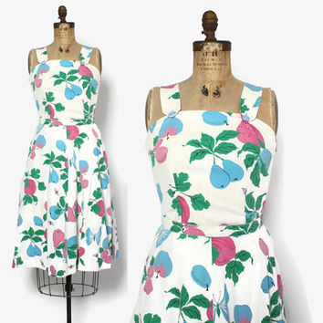 Vintage 40s 2 Piece SET / 1940s Novelty Fruit & Bees Print Top and Skirt Matching Outfit M