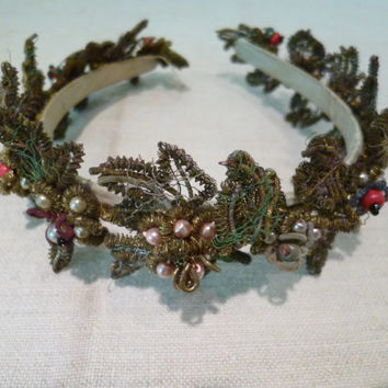 Antique Victorian Beaded Headband / Tiara