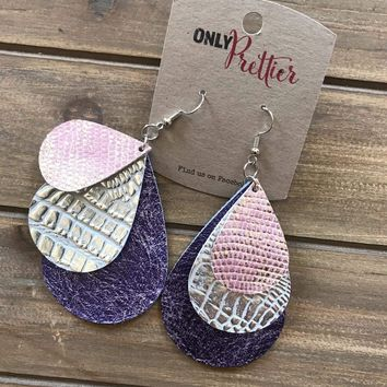 Layered Leather Teardrop Earrings - Purple, and Pink