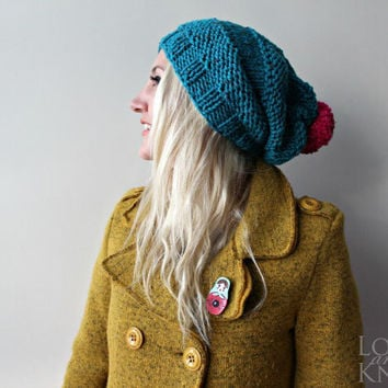 Slouchy Beanie with Pompom- Blue