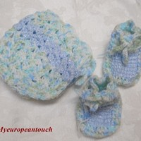 BabyBooties and matching cap hat hand crochet all blues on Handmade Artists' Shop